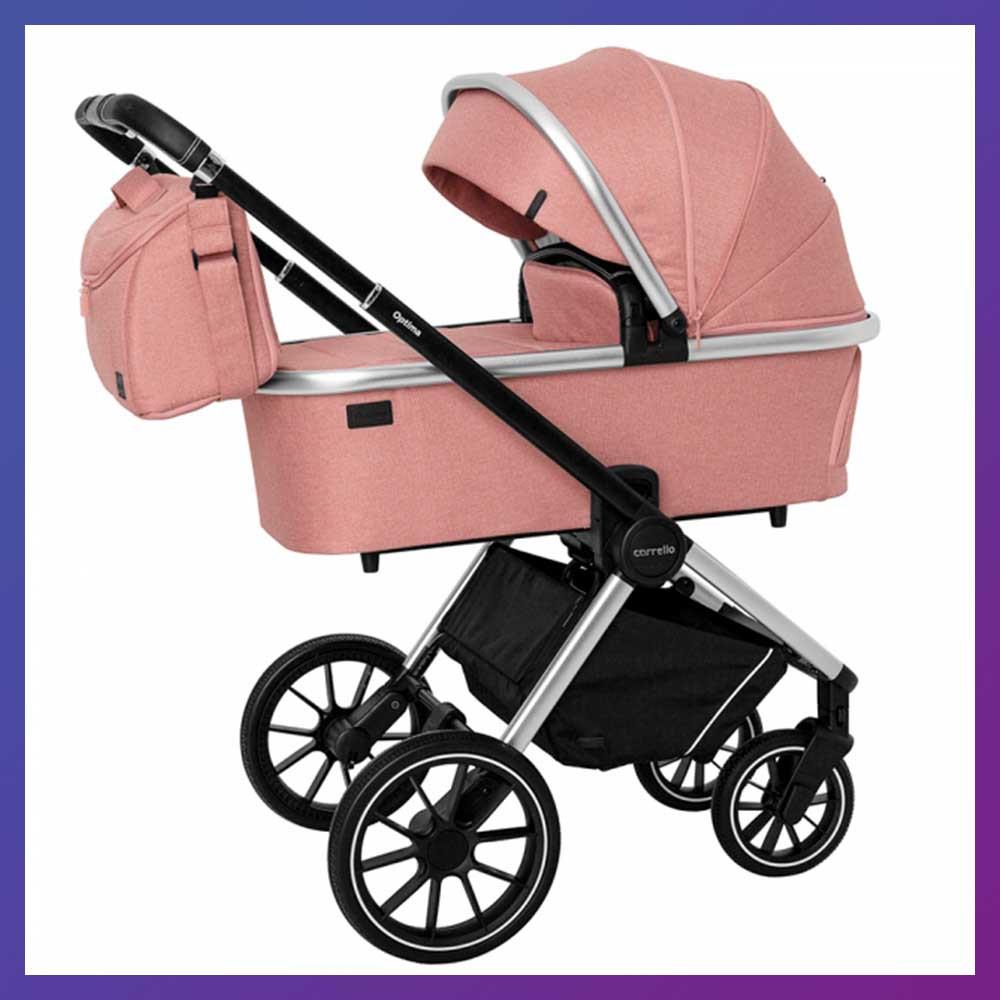 Детская универсальная коляска 3в1 с автокреслом CARRELLO Optima CRL-6504 (3in1) Hot Pink розовая в льне