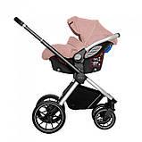 Детская универсальная коляска 3в1 с автокреслом CARRELLO Optima CRL-6504 (3in1) Hot Pink розовая в льне, фото 4