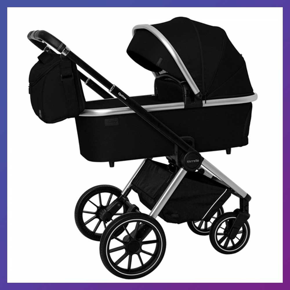 Детская универсальная коляска 3в1 с автокреслом CARRELLO Optima CRL-6504 (3in1) Leather Black черная в льне