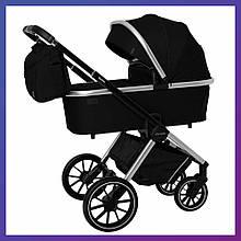 Дитяча універсальна коляска 3в1 з автокріслом CARRELLO Optima CRL-6504 (3in1) Leather Black чорна в льоні