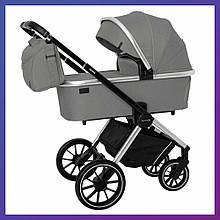 Дитяча універсальна коляска 3в1 з автокріслом CARRELLO Optima CRL-6504 (3in1) Mirror Grey сіра в льоні