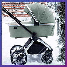Детская универсальная коляска 3в1 с автокреслом CARRELLO Optima CRL-6504 (3in1) Nordic Green зеленая в льне
