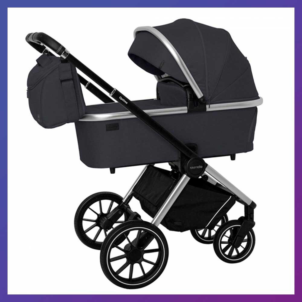 Детская универсальная коляска 3в1 с автокреслом CARRELLO Optima CRL-6504 (3in1) Platinum Grey серая в льне
