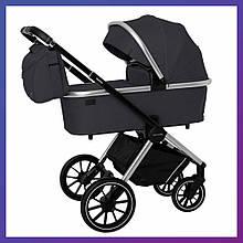 Дитяча універсальна коляска 3в1 з автокріслом CARRELLO Optima CRL-6504 (3in1) Platinum Grey сіра в льоні