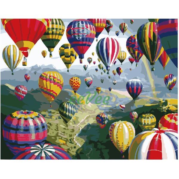 Картина за номерами різнокольорові Повітряні кулі Brushme Розфарбування 40х50 см Набір для малювання (32017)