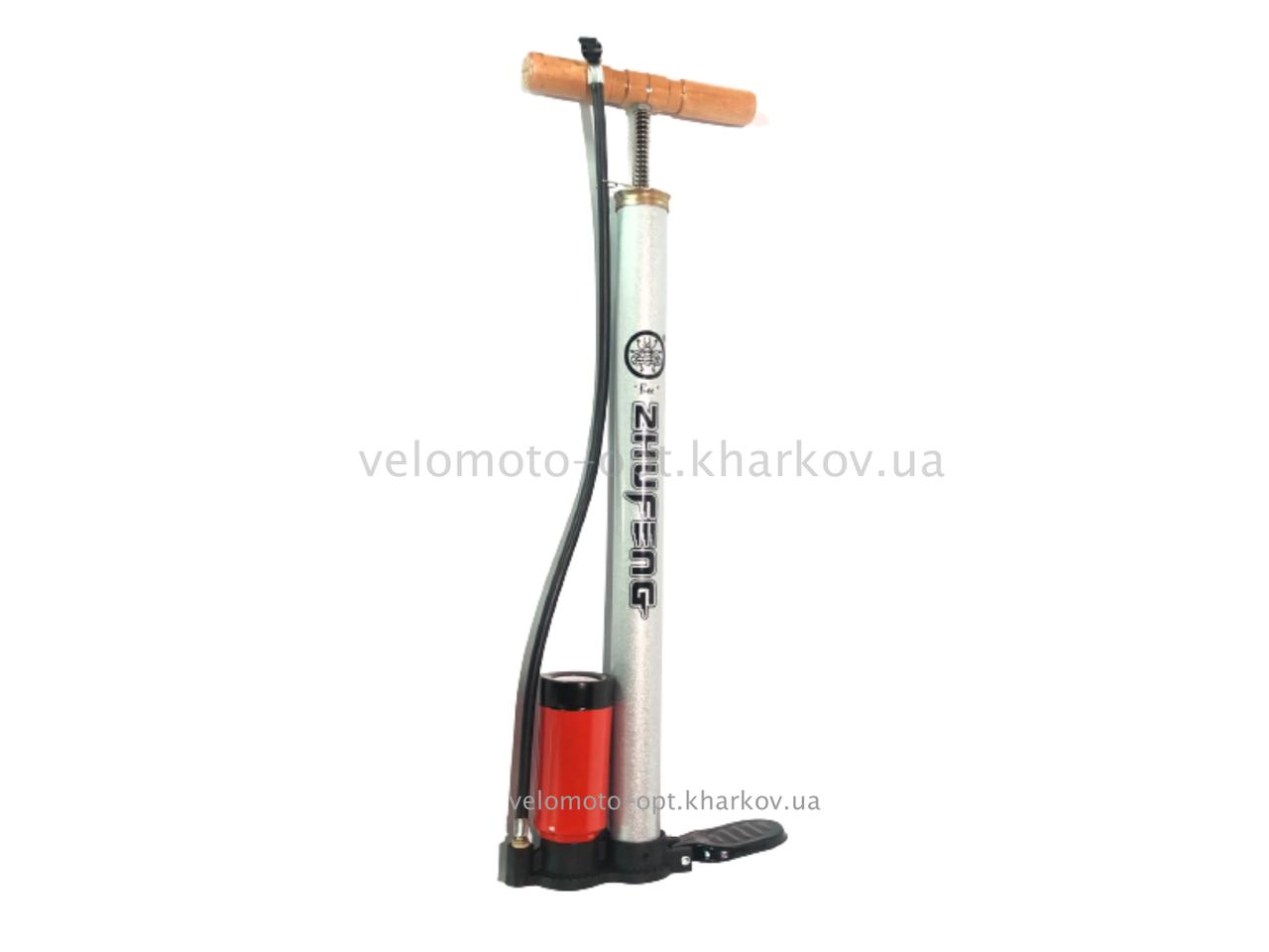 Насос підлоговий ручний з манометром і дерев'яною ручкою Zhufeng