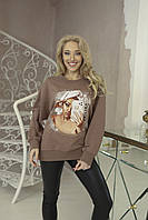 Женский свитшот с принтом Zhilina collection S-01A L Мокко