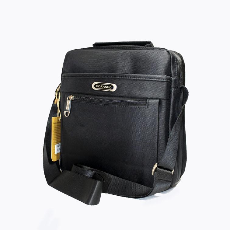 Стильная сумка для мужчин черного цвета на два отделения с регулируемым ремнем Gorangd Размер: 25х23х7