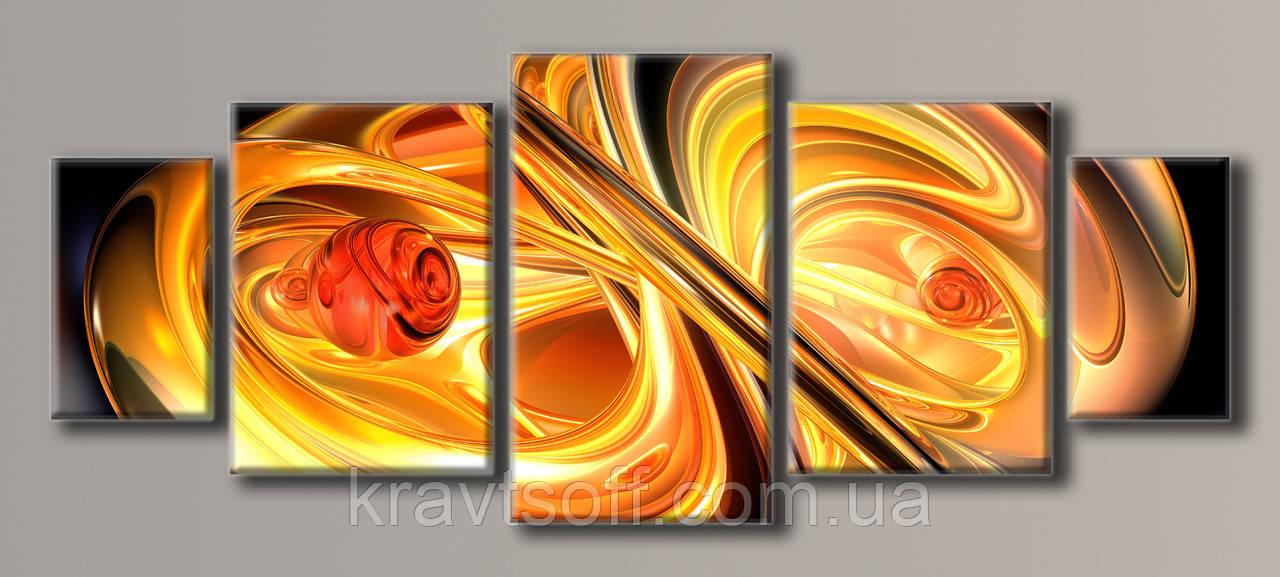 """Модульна картина на полотні з 5 частин """"Помаранчева абстракція"""" ( 98.5х245 см )"""