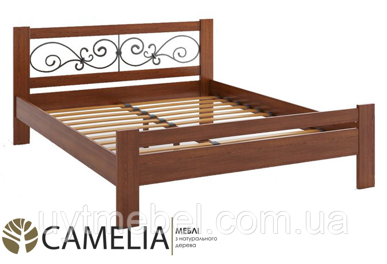 Ліжко Жасмин 1600х2000+ламель дуб лак/яблуня (Камелія)