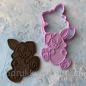 "Вирубка зі штампом ""Великодній кролик #2"" / Вырубка - формочка со штампом для пряников"
