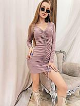 Платье мини обтягивающее с декольте и драпировкой, фото 2