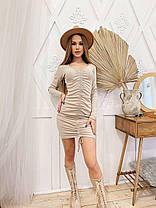 Платье мини обтягивающее с декольте и драпировкой, фото 3