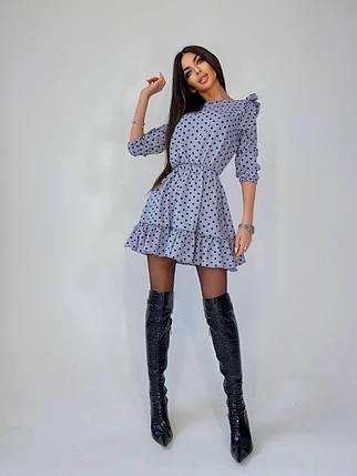 Стильне міні сукня в горошок з високою талією і поясом, фото 2