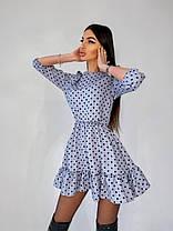 Стильне міні сукня в горошок з високою талією і поясом, фото 3