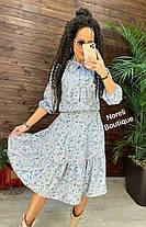 Сукня міді літній вільний з високою талією на гумці, фото 3