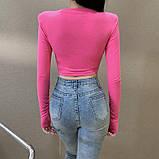 Женская трендовая укороченная кофта с высокими плечами, фото 3