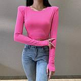 Женская трендовая укороченная кофта с высокими плечами, фото 4