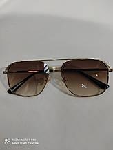 Очки солнцезащитные квадратные Авиаторы коричневые с градиентом унисекс Чоловічі сонцезахисні окуляри