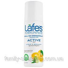 Натуральный роликовый дезодорант Lafe's Active (Цитрус и Бергамот), 88 мл