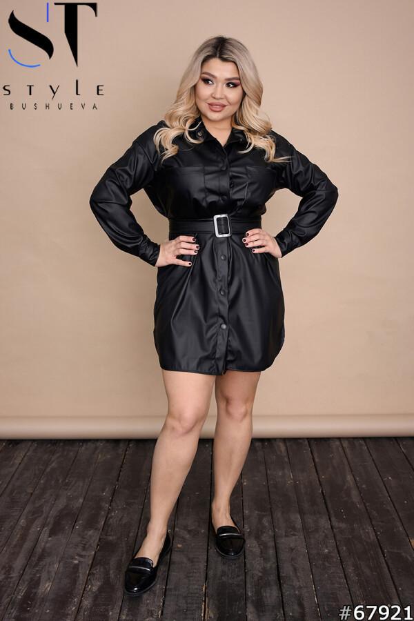 Стильное короткое кожаное платье рубашка на кнопках черный  р-р 48-50,52-54,56-58,60-62