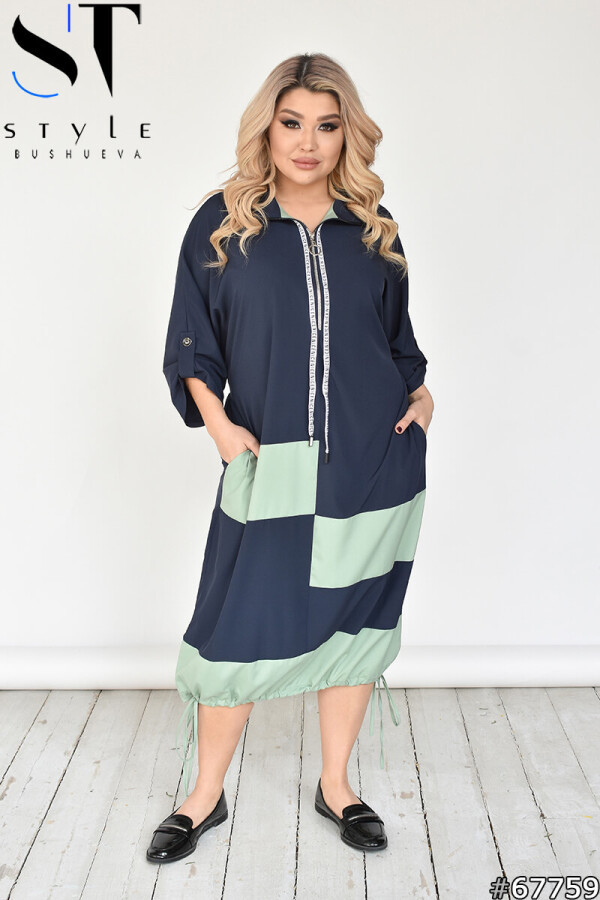 Двокольорове плаття міді в спортивному стилі з рукавом на патах Сіро-зелений | р-р 50-54,56-60