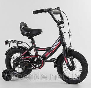 """Дитячий велосипед CORSO CL 12"""" ручне гальмо, дзвіночок, сидіння з ручкою чорний"""