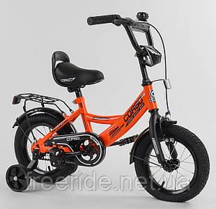 """Дитячий велосипед CORSO CL 12"""" ручне гальмо, дзвіночок, сидіння з ручкою помаранчевий"""
