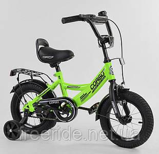 """Дитячий велосипед CORSO CL 12"""" ручне гальмо, дзвіночок, сидіння з ручкою салатовий"""
