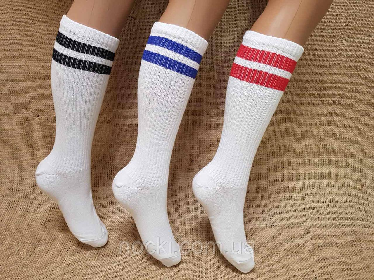 Женские носки высокие ТЕННИС НЛ 36-39 белый две тонкие полоски