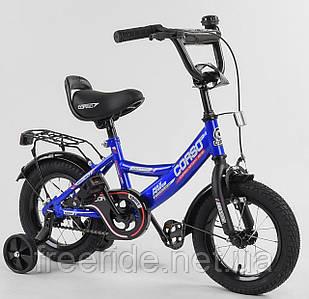 """Дитячий велосипед CORSO CL 12"""" ручне гальмо, дзвіночок, сидіння з ручкою синій"""
