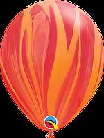 "Гелиевый шар 12"" 30см агат красно-оранжевый"