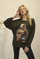 Женский свитшот с принтом Zhilina collection S-01S M Хаки