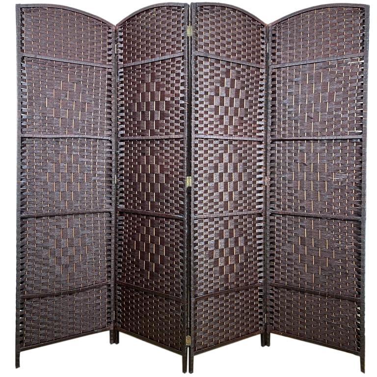 Ширма з дерев'яним каркасом, 180 х 200, коричневий колір 2
