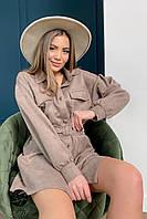 Стильное женское замшевое платье-рубашка