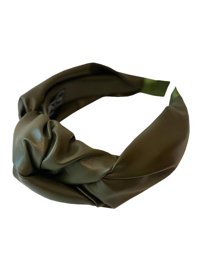 """Стильный обруч ободок из эко кожи """"хаки"""" для волос my scarf"""