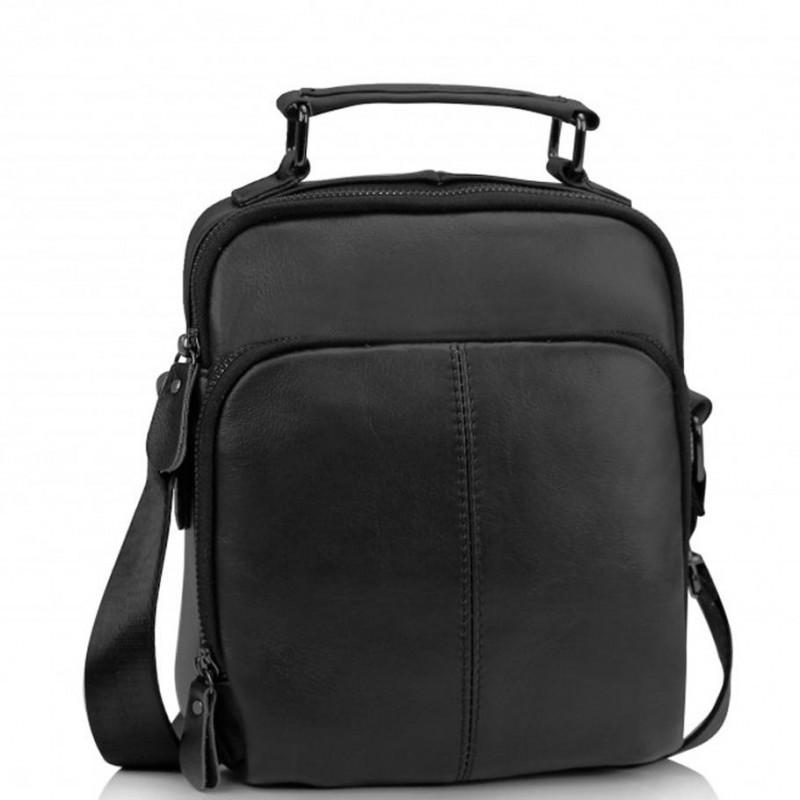 Мужская кожаная сумка на плечо черная Tiding Bag