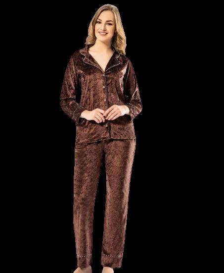 Велюровая женская пижама коричневая Мраморный велюр Miss Duhya Lissa Турция