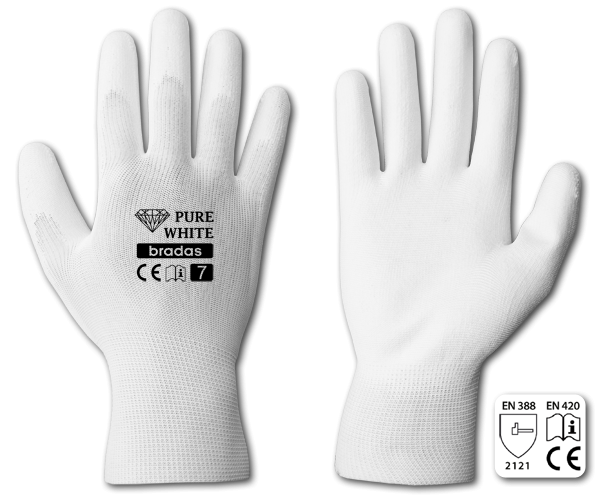Рукавички захисні PURE WHITE поліуретан, розмір 8, RWPWH8 Бренди Європи