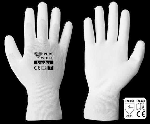 Рукавички захисні PURE WHITE поліуретан, розмір 8, RWPWH8 Бренди Європи, фото 2