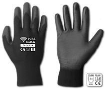 Перчатки защитные PURE BLACK полиуретан, размер  10, RWPBC10 Бренды Европы