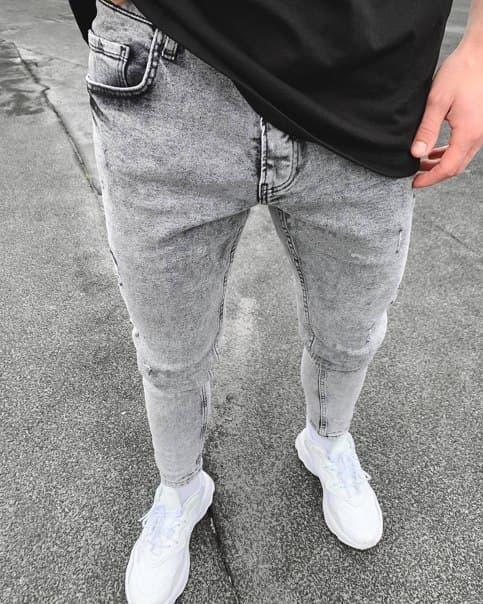 Мужские серые зауженные джинсы топ качество
