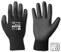 Перчатки защитные PURE BLACK полиуретан, размер  7, RWPBC7 Бренды Европы