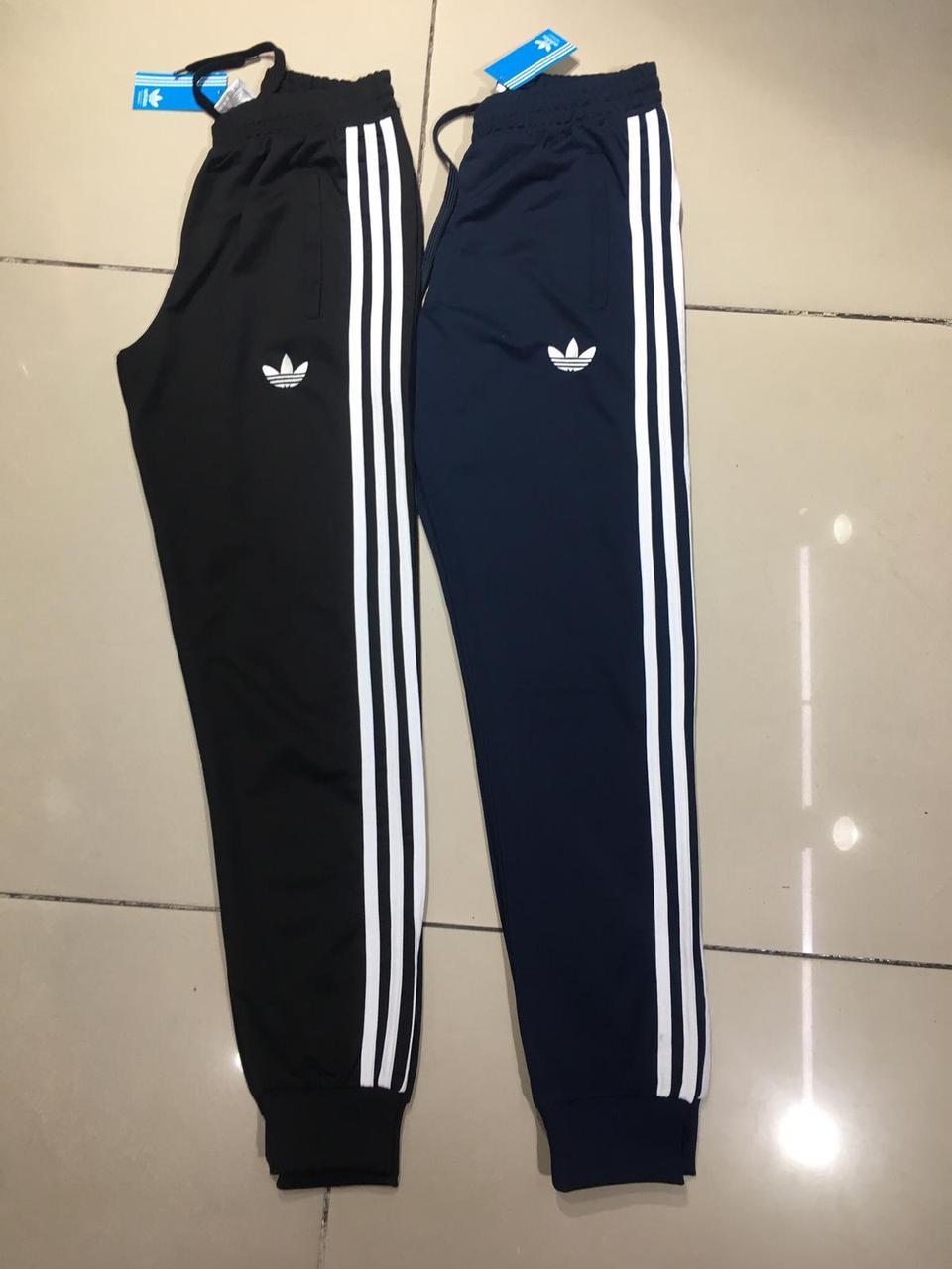 Спортивные мужские штаны на манжете Adidas Черный с резинкой на весну лето Спорт штаны мужские Адидас S