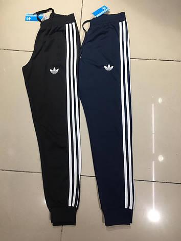Спортивные мужские штаны на манжете Adidas Черный с резинкой на весну лето Спорт штаны мужские Адидас S, фото 2