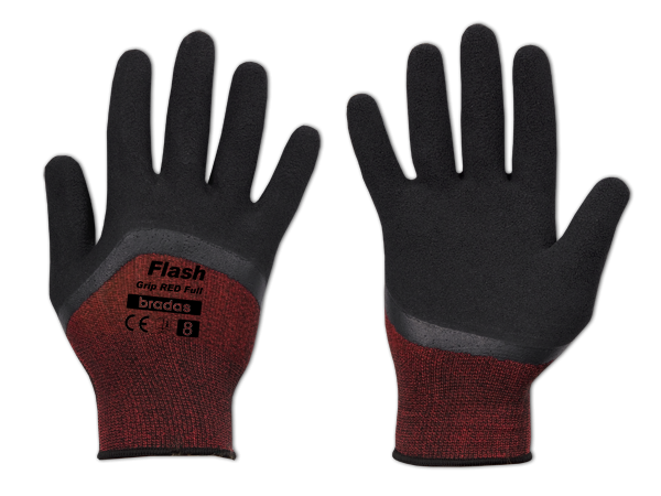 Рукавички захисні FLASH GRIP RED FULL латекс, розмір 9, блістер, RWFGRDF9 Бренди Європи