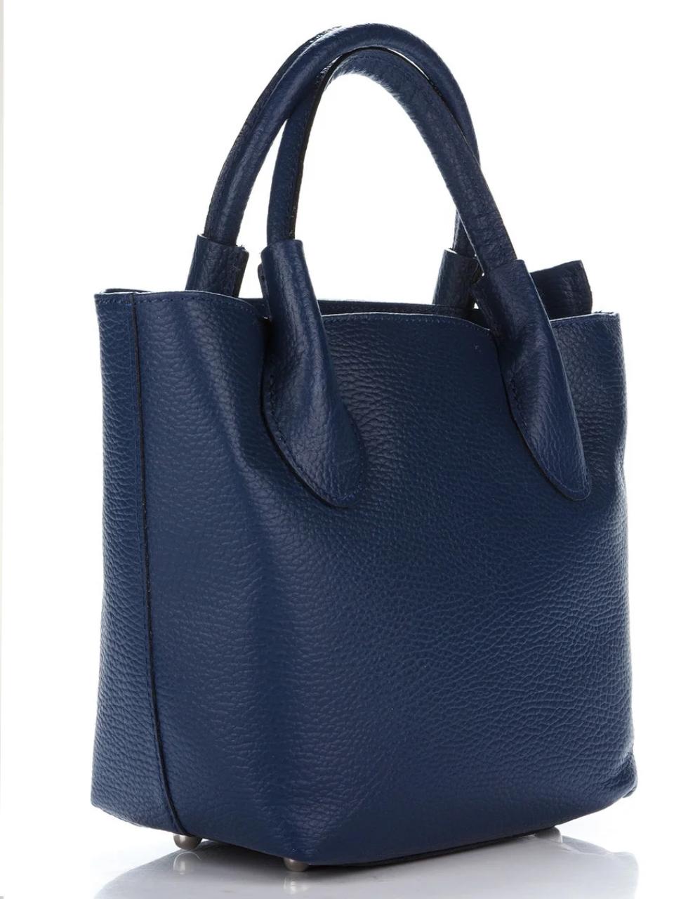 Женская итальянская натуральная кожаная сумка синяя 25х22х12