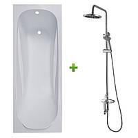 Комплект: FIESTA ванна 150*70*43,5см без ножек (TS-1570435) + WITOW система душевая, смеситель для душа