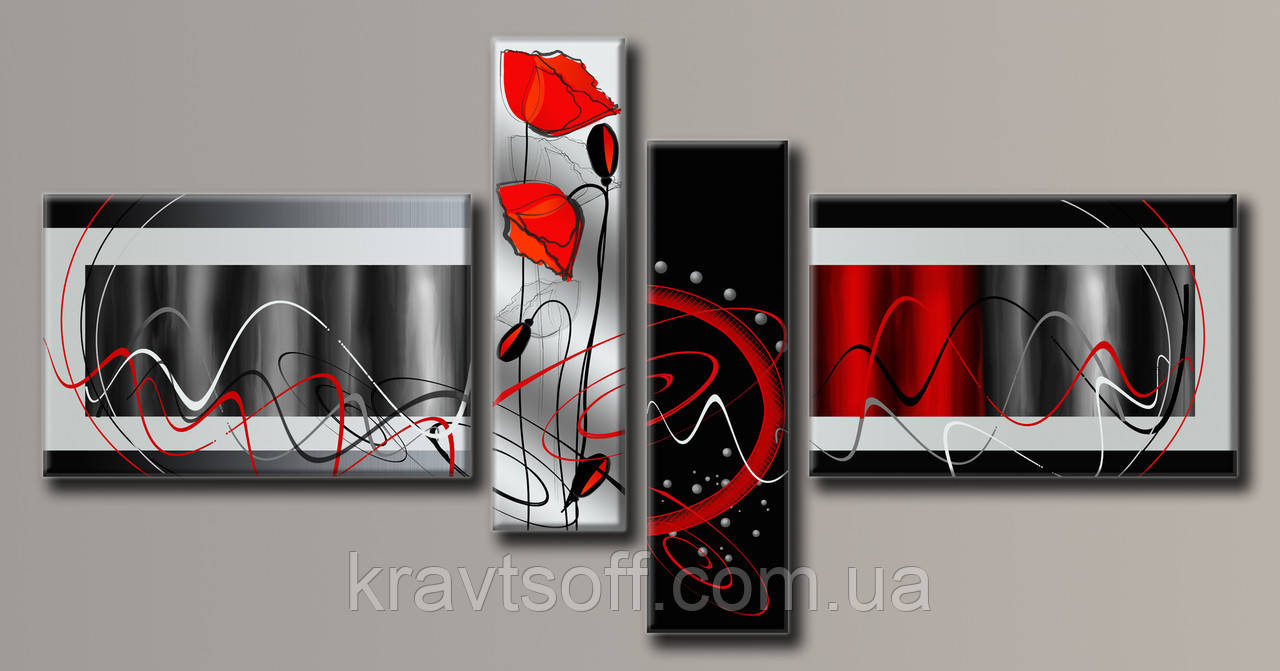 """Модульна картина на полотні з 4-х частин """"Абстракція стиль"""" ( 105х206 см )"""