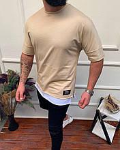 Чоловіча футболка преміум якості, бежева